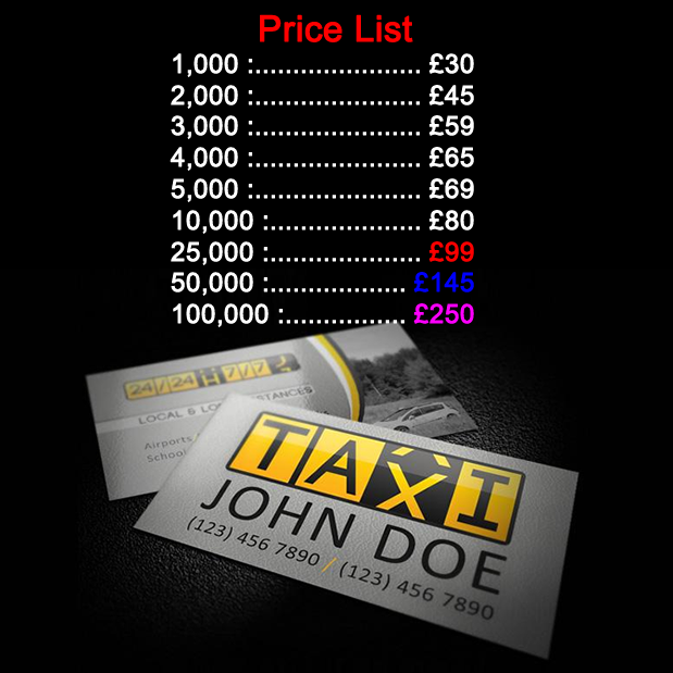 Cheapest taxi cab business cards printing for next day or